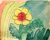 A flower, original China ink painting by Filip Finger