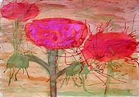 Poppy's, original China ink painting by Filip Finger