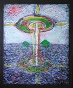 Atlantis downfall, pastel drawing on paper by Filip Finger