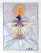 Flaming heart, pastel drawing on paper by Filip Finger