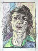 Selfportrait 3, pastel drawing on paper by Filip Finger