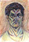 Selfportrait, pastel drawing on paper by Filip Finger
