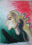 Witch, pastel drawing on paper by Filip Finger
